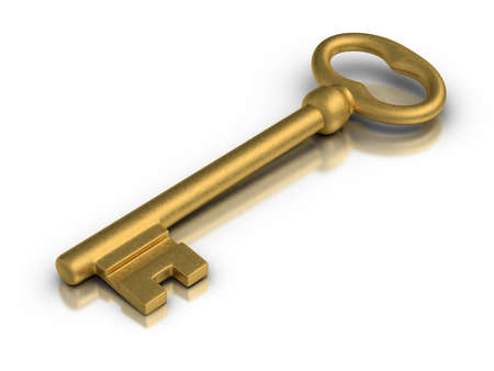 Beautiful golden skeleton key on white reflective surface. Stock Photo - 13137940