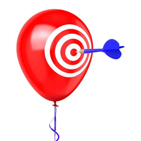 bull     s eye: Balloon with target and dart