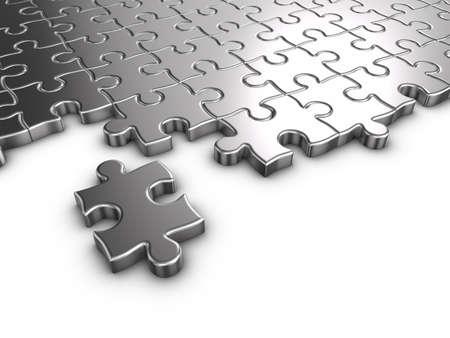jigsaws: 3D rendering di puzzle su sfondo bianco. Archivio Fotografico