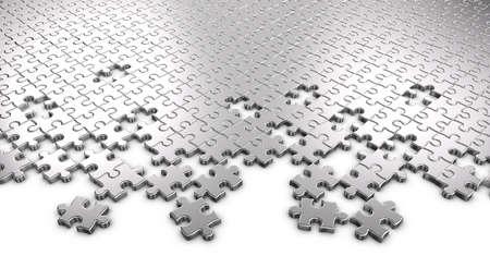 piezas de puzzle: Metal rompecabezas Foto de archivo