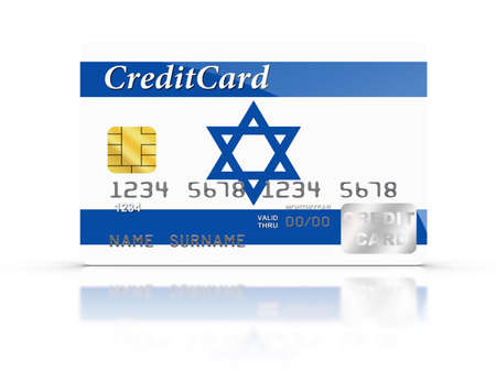 Credit Card covered with Israel flag. photo