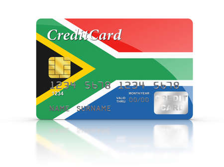 Credit Card covered with South African flag. photo