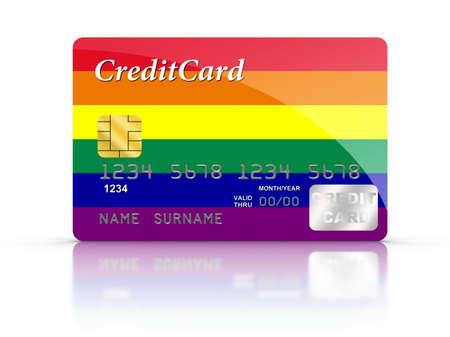 bandera gay: Tarjeta de cr�dito cubierto con la bandera gay.