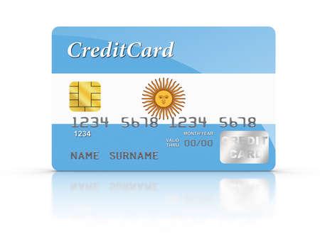 bandera argentina: Tarjeta de crédito cubierto con la bandera de Argentina. Foto de archivo