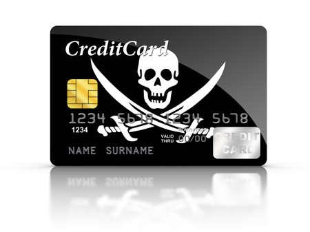 drapeau pirate: 3D, rendu, carte de cr�dit couvert avec le drapeau pirate. Banque d'images