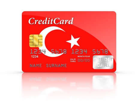 turkish flag: Credit Card covered with Turkish flag.