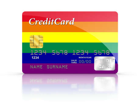 3d rainbow: 3D rendered Credit Card covered with  Rainbow flag. Stock Photo
