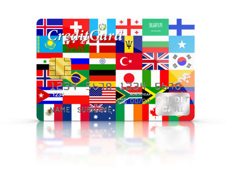 3D rendered Credit Card covered with Flags. Stock Photo - 15789889