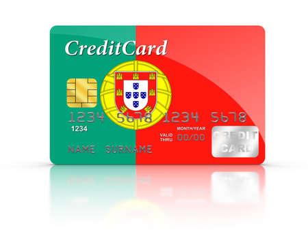 drapeau portugal: 3D, rendu, carte de crédit couvert avec le drapeau du Portugal. Banque d'images