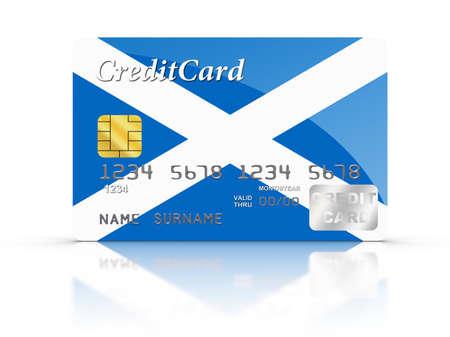scottish flag: 3D rendering carta di credito coperto con bandiera scozzese. Archivio Fotografico