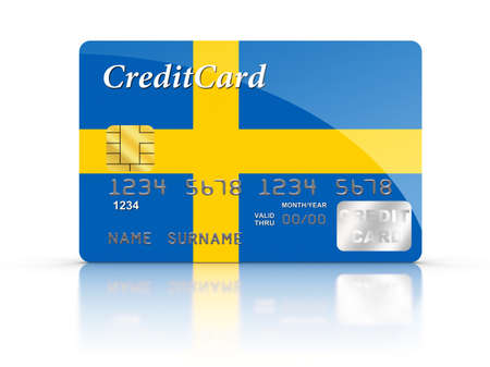 the swedish flag: Credit Card covered with Swedish flag.