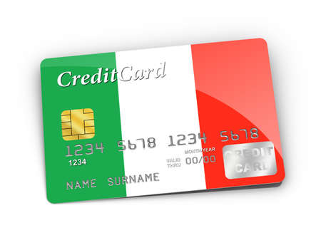 Credit Card covered with  Italy flag. Stock Photo - 15789934