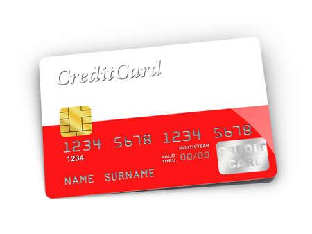 polish flag: Credit Card covered with Polish flag. Stock Photo