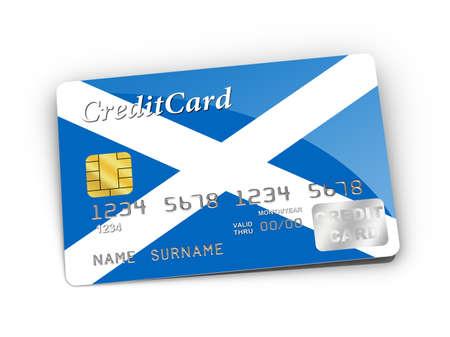 scottish flag: Credit Card covered with Scottish flag.