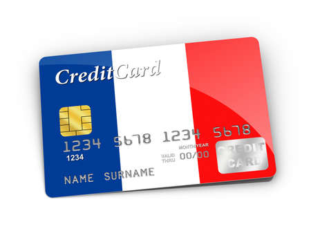 Credit Card covered with  French flag Stock Photo - 15789948