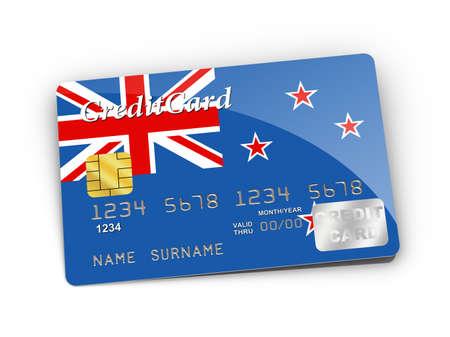 bandera de nueva zelanda: Tarjeta de crédito cubierto con bandera de Nueva Zelanda. Foto de archivo