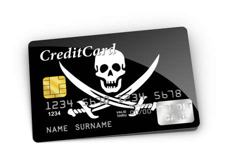 3D rendered Credit Card covered with Pirate flag. photo