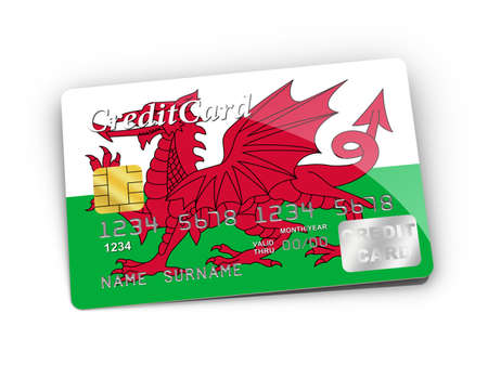 Credit Card covered with Wales flag  photo