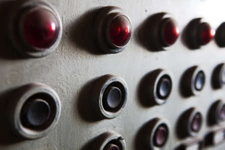 electricity substation: Old Control Panel Stock Photo