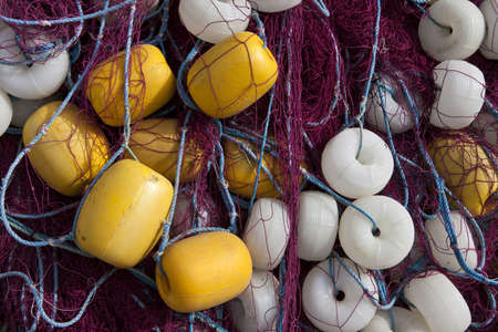 commercial fishing net: Heap of Commercial Fishing Net with buoy