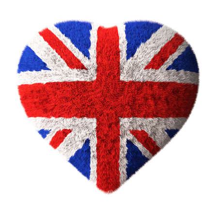 British flag - Fluffy heart shaped  photo