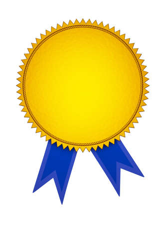 Gold Award Aedal with Blue Ribbon. Isolated on White. photo