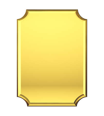 memorial plaque: Blank Gold plate Stock Photo