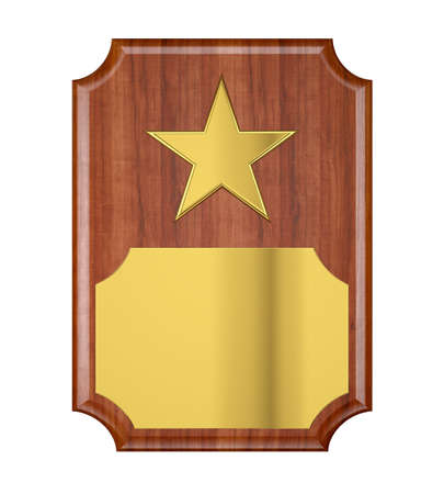 Plaque with Gold Star Stock Photo - 21646046