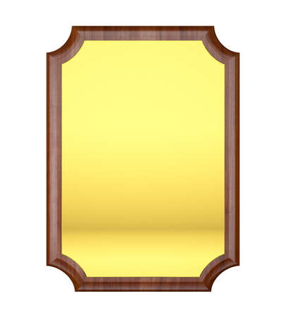 Wood plaque with Gold plate photo