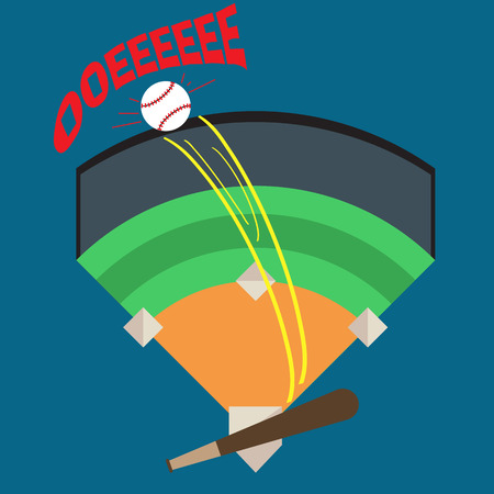 homerun: A Baseball Being Hit Out of the Park, Stadium by Baseball Bat With Words of Joy, Victory. Illustration, Vector Illustration
