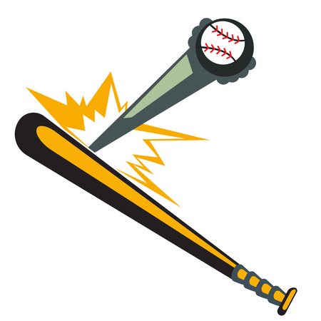 softball: Baseball Bat Hitting the Ball. Illustration, Vector Illustration
