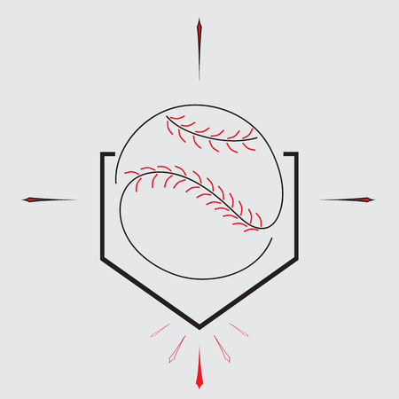 homeplate: Baseball Homeplate and Ball, Sport Graphic, Label, Banner, Logo Elements. Illustration, Vector