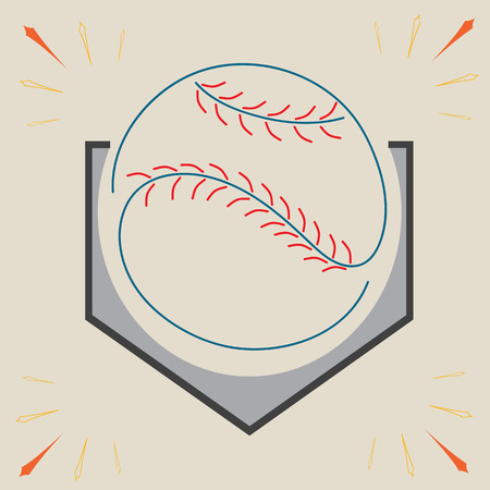 Baseball Homeplate and Ball, Sport Graphic, Label, Banner, Logo Elements. Illustration, Vector