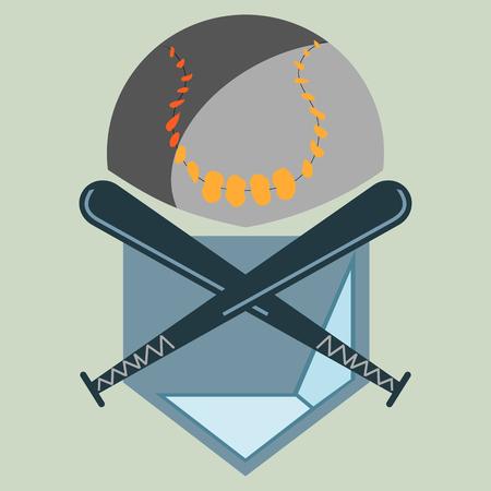 softbol: B�isbol Homeplate, Ball y dos palos cruzados, gr�fico Deporte, Etiqueta, Banner, elementos de la insignia. Ilustraci�n, Vector