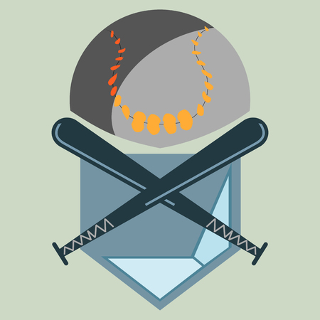 Baseball Homeplate, Ball and Two Crossed Bats, Sport Graphic, Label, Banner, Logo Elements. Illustration, Vector