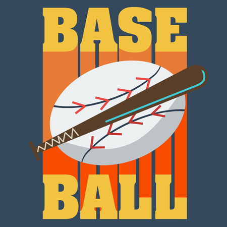 team sport: Baseball Bat and Ball, Sport Graphic, Label, Banner, Logo Elements. Illustration, Vector