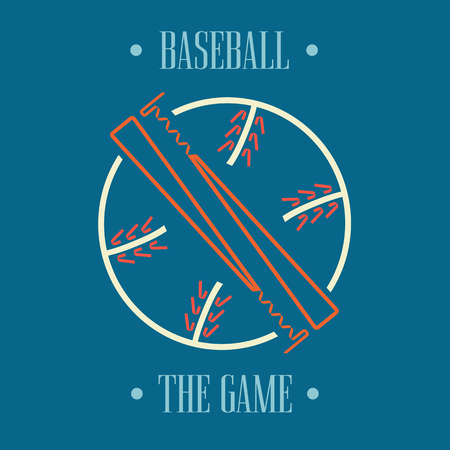 fastball: Two Baseball Bats and Ball, Sport Graphic, Label, Banner, Logo Elements. Illustration, Vector Illustration
