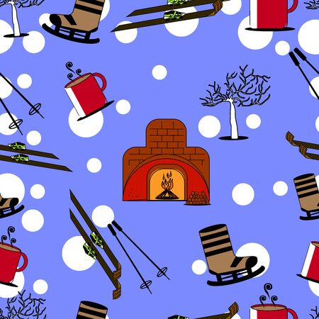 winter icon seamless pattern with blue background