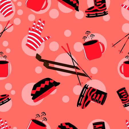 winter icon seamless pattern with pink background