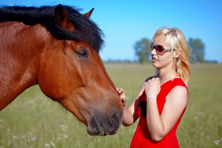 Portrait of the girl with a horse in the field