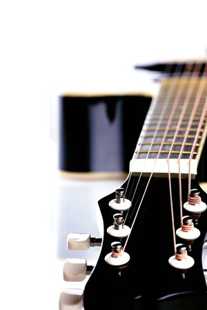 Musical instrument. Detail of a musical instrument. Strings on a guitar. Stock Photo - 18198669