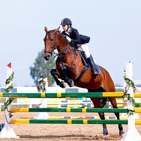 Sport equestre. Salto ostacoli. Superamento di un ostacolo. La sportiva su un cavallo. L'amazzone su un cavallo rosso. Equitazione. Equitazione. Corse di cavalli. Cavaliere su un cavallo. Archivio Fotografico - 21512323