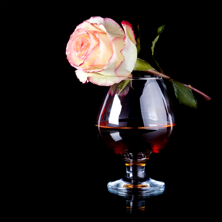 Glass and rose. Alcohol and flower. Glass with drink and a pink rose.