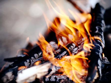 明るいキャンプファイヤー。行進の条件で火災します。 写真素材 - 35474119