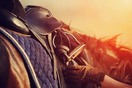 aparatos electricos: Silla de montar con estribos de un lomo de un caballo Foto de archivo
