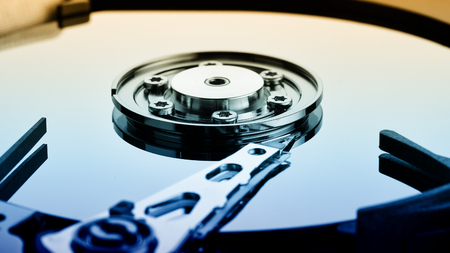 megabyte: Close up of open computer hard disk drive (HDD)