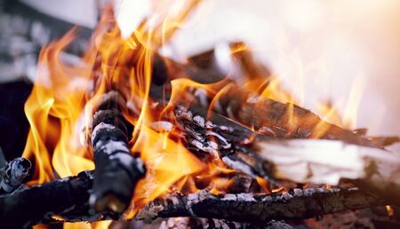 smoldering: Flame of the bright burning fire in marching conditions. Stock Photo