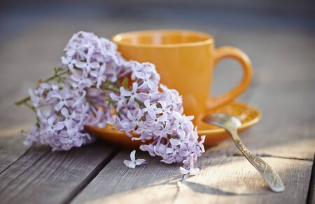 inflorescence: Orange cup with a spoon and an inflorescence of a lilac lilac on a wooden table.