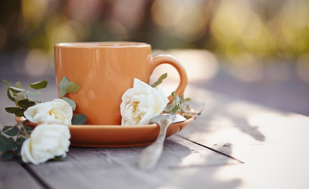 inflorescence: Orange cup with a spoon and an inflorescence of a white dogrose on a wooden table.