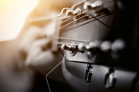 Detail of strings of a guitar in close range